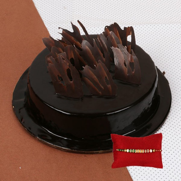 Half Kg Chocolate Truffle Eggless Cake with Rakhi