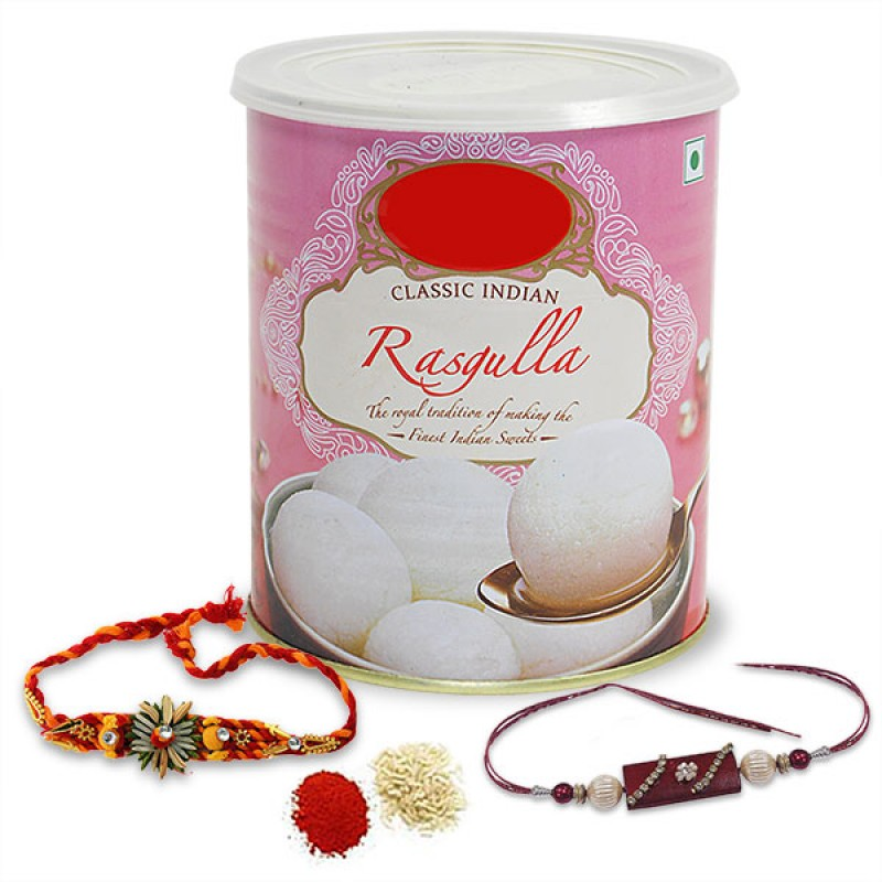 Rasgulla and Rakhis Hamper