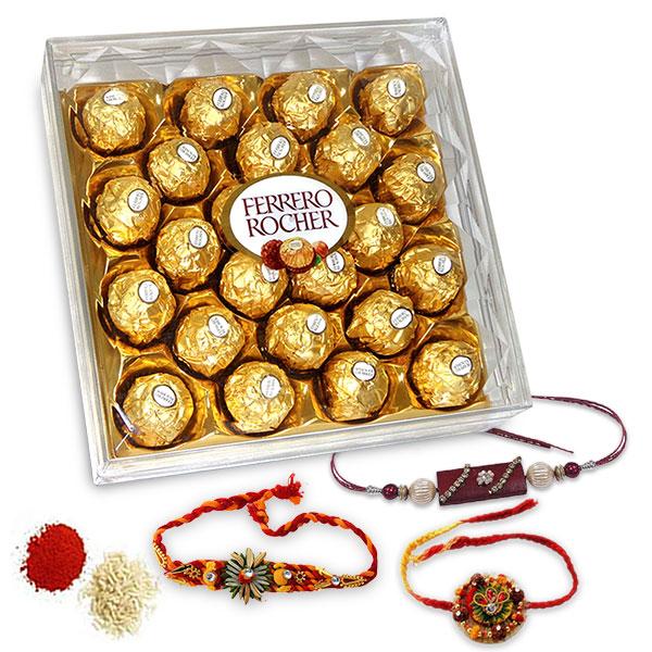 Rakhis and Ferrero Rocher Hamper