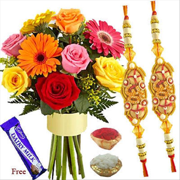 RAKHI WITH MIXED FLOWERS