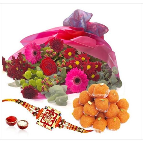Ladoo With Flowers And Rakhi