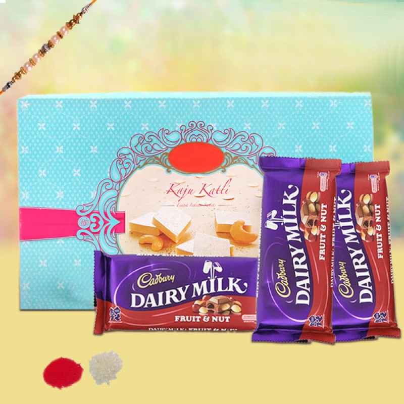 RAKHI WITH KAJU KATLI AND CHOCOLATES