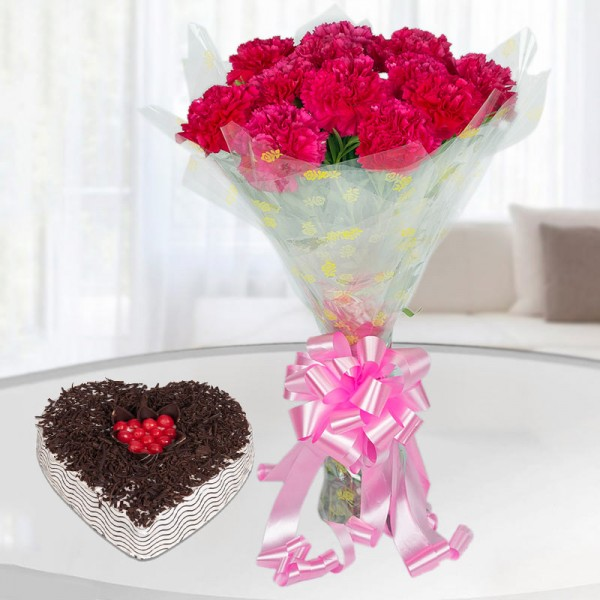 12 Pink Carnations with 1 Kg Heart Shape Black Forest Cake