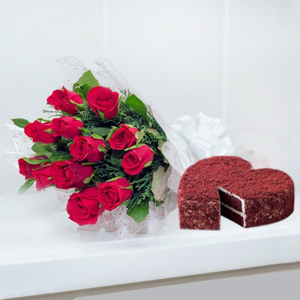 12 Red Roses with 1 Kg Heart Shape Red Velvet Cake