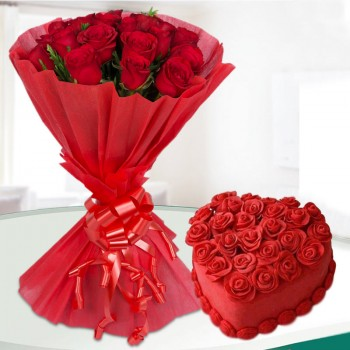 20 Red Roses with 1 Kg Heart Shape Red Velvet Cake in Red Paper Packing