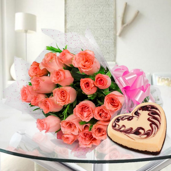 20 Peach Roses with 1 Kg Heart Shape Strawberry Cheesecake