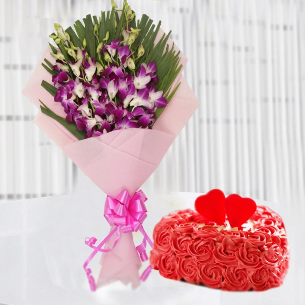 6 Purple Orchids with1 Kg Heart Shape Vanilla Rose Cake in Paper Packing