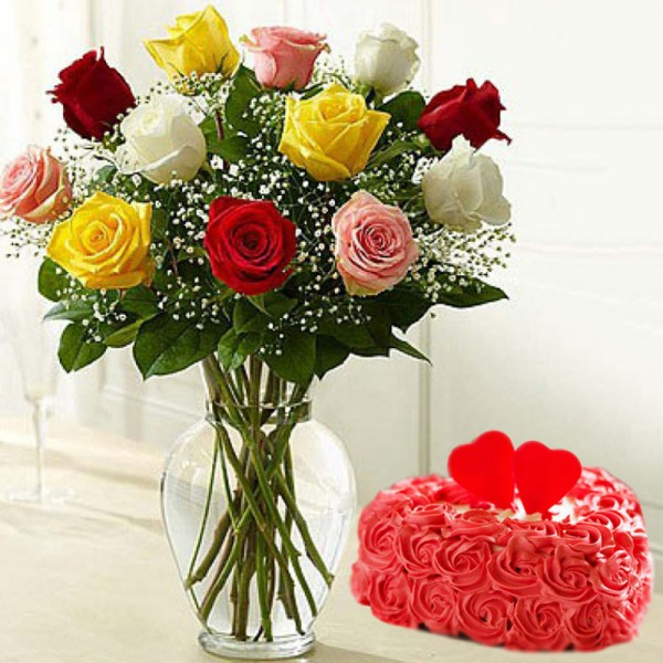 12 mixed Roses with 1 Kg Heart Shape Rose Cake in a Glass Vase