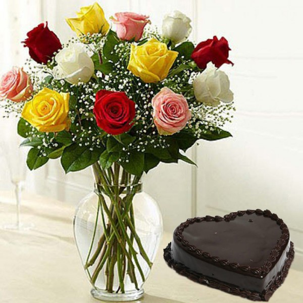 12 Mixed Roses with 1 Kg Heart Shape Chocolate Cake in a Glass Vase