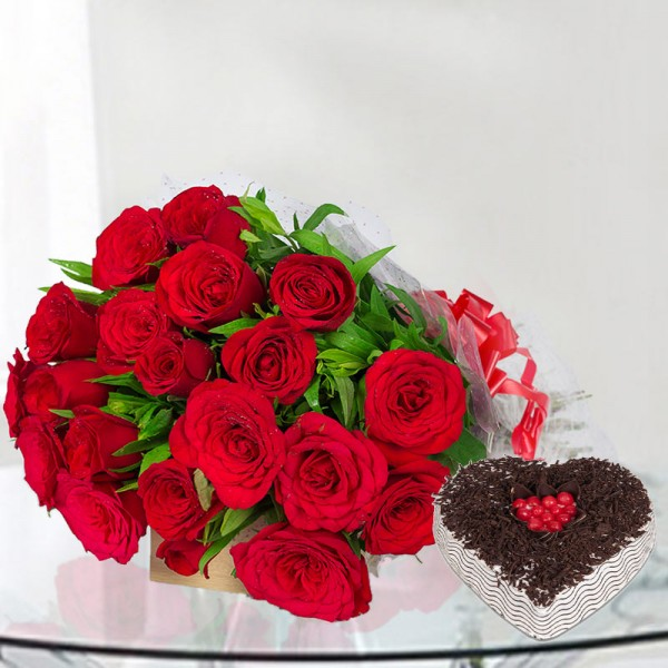 20 Red Roses with 1 Kg Heart Shape Black Forest Cake in Cellophane Packing