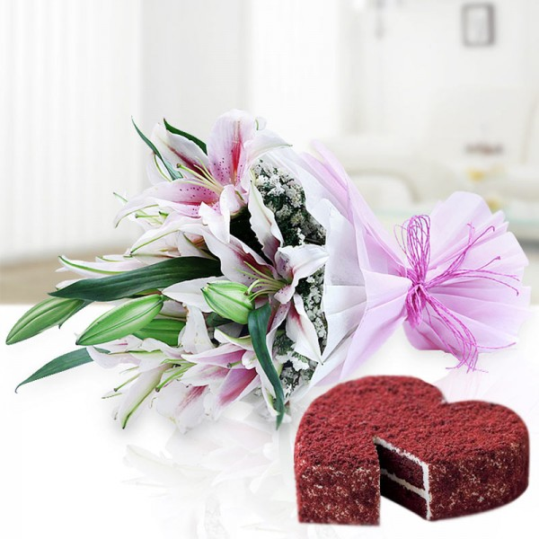 6 Oriental Lilies with 1 Kg Heart Shape Red Velvet Cake