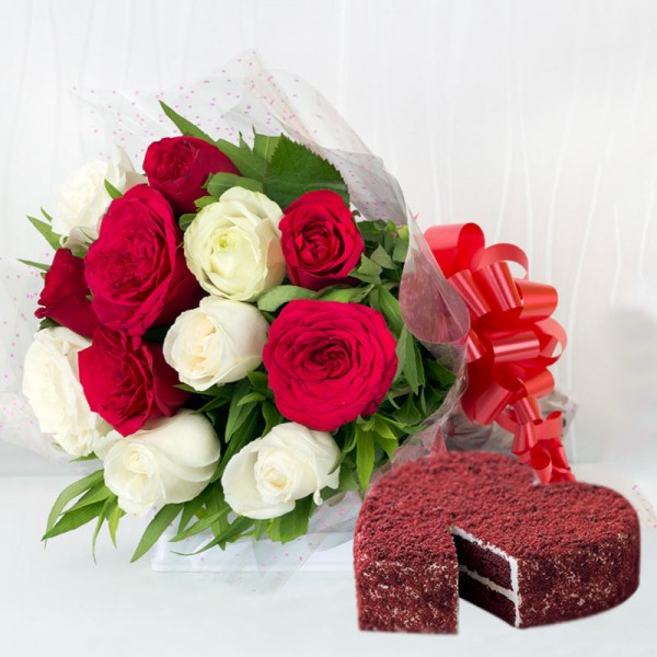 12 Red and White Roses with 1 Kg Heart Shape Red Velvet Cake