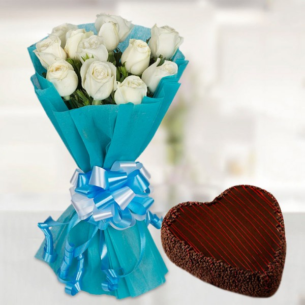 12 White Roses with 1 Kg Heart Shape Chocochip Chocolate Cake - Blue Paper Packing