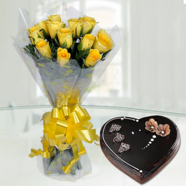 12 Yellow Roses with 1 Kg Heart Shape Chocolate Truffle Cake - Cellophane Packing