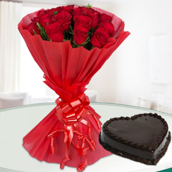 12 Red Roses with 1/2 Kg Heart Shape Chocolate Cake