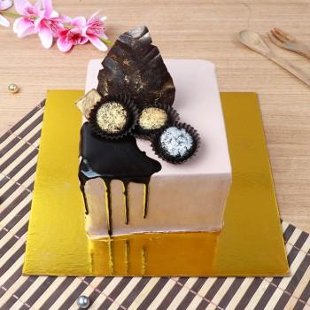 One Kg Chocolate Cake Decorated with 3 Handmade Chocolates