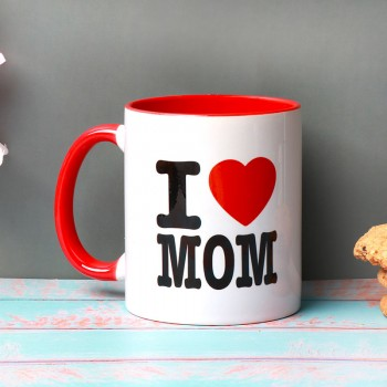 One Red Handle Printed Ceramic Mug for Mom