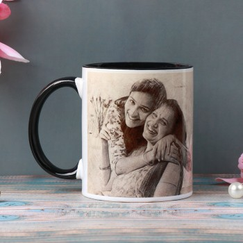 One Personalised Black Handle Sketch Art Ceramic Mug for Mom
