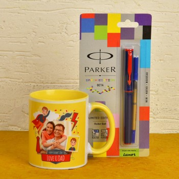 Personalised Fathers Day Combo of Coffee Mug and Parker Pen