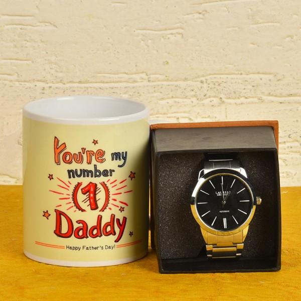 Fathers Day Coffee Mug with Wrist Watch