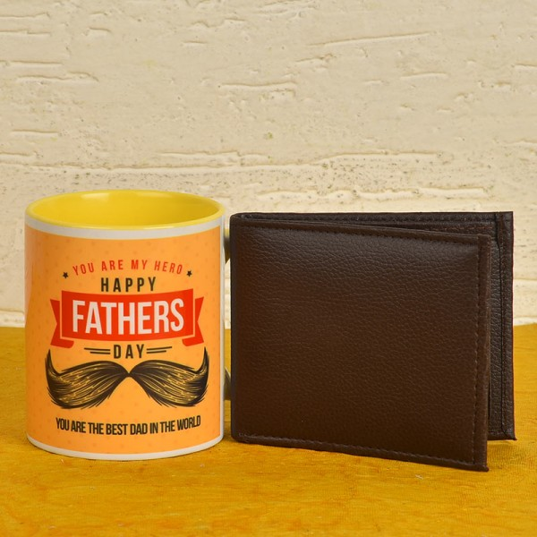 Happy Fathers Day Coffee Mug with Brown Wallet