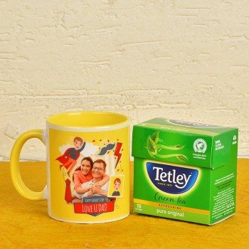 Personalised Fathers Day Combo of Coffee Mug N Green Tea Pack