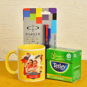Fathers Day Personalised Coffee Mug with Parker Pen and Green Tea Pack