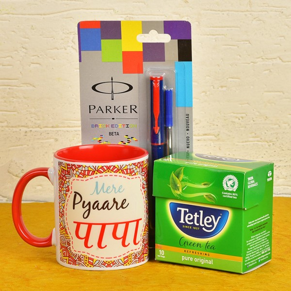 Coffee Mug, Parker Pen and Tetley Green Tea Pack for Dad