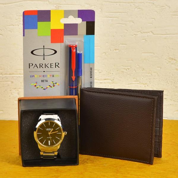 Set of Designer Watch, Parker Pen and Wallet