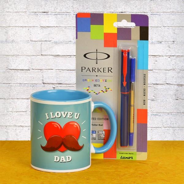 Love U Dad Coffee Mug with Parker Pen