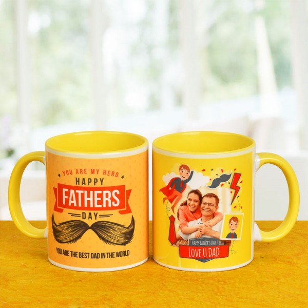 Fathers Day Personalised Yellow Handle Mug