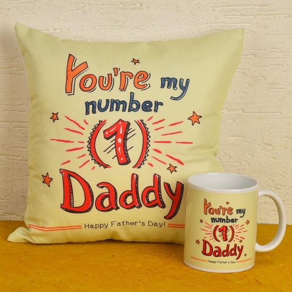 No 1 Dad Printed Cushion and Coffee Mug for Dad