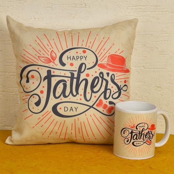Happy Fathers Day Printed Cushion and Coffee Mug