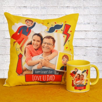 Fathers Day Personalised Mug and Cushion