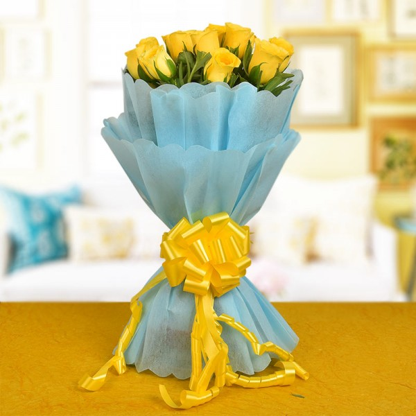 12 Yellow Roses in Blue Paper Packing