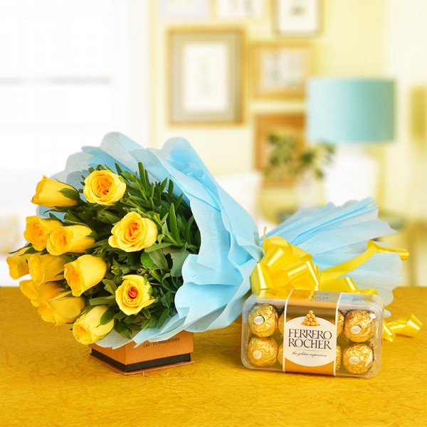 12 Yellow Roses Bunch with 16 pcs Ferrero Rocher