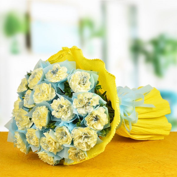 20 Yellow Carnations with Paper Packing