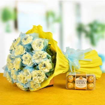 20 Yellow Carnations with 16 pcs Ferrero Rocher