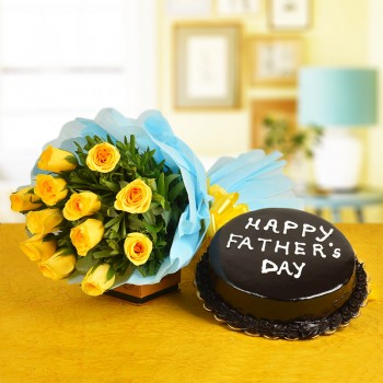12 Yellow Roses with Half Kg Chocolate Cake for Fathers Day
