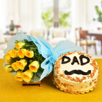 12 Yellow Roses Bouquet with Half Kg Butterscotch Cake for Father