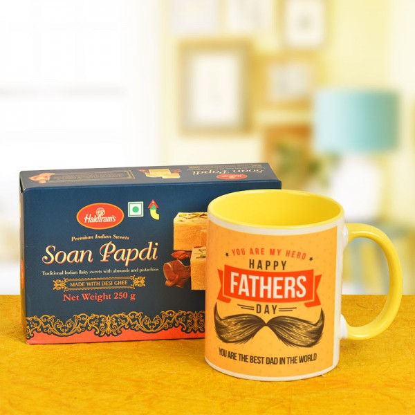 Happy Fathers Day Coffee Mug with Soan Papdi Pack