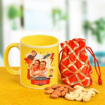 Combo of Fathers Day Coffee Mug and Dry Fruits Pack