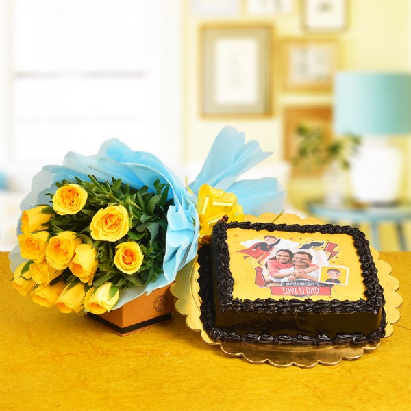 12 Yellow Roses Bouquet with 1 Kg Photo Printed Chocolate Cake for Dad