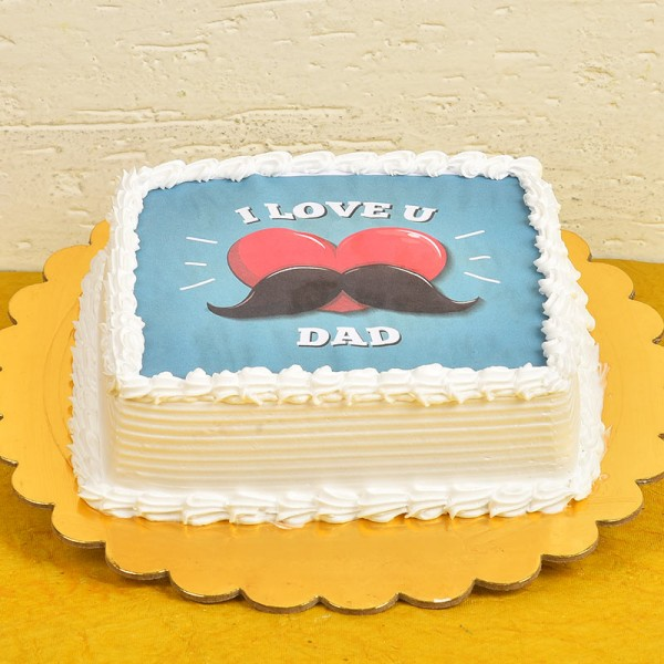 One Kg Square Shape Personalised Pineapple Cake For Dad