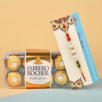 Pearl Rakhi N 16 Pcs Ferrero Rocher