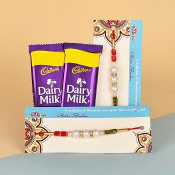 2 Pearl Rakhis N Dairy Milk Chocolates