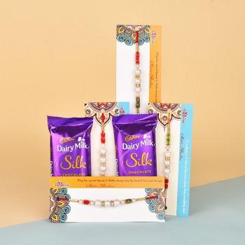 4 Pearl Rakhis N Dairy Milk Silk Chocolates
