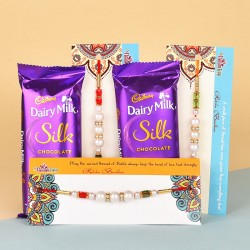 3 Pearl Rakhis N Dairy Milk Silk Chocolates