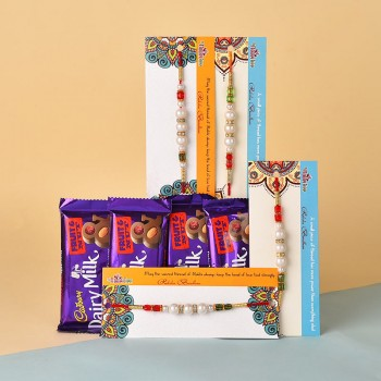 Glittering Pearl Rakhi Combo