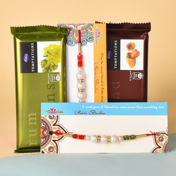 2 Pearl Rakhis N Temptations Chocolates